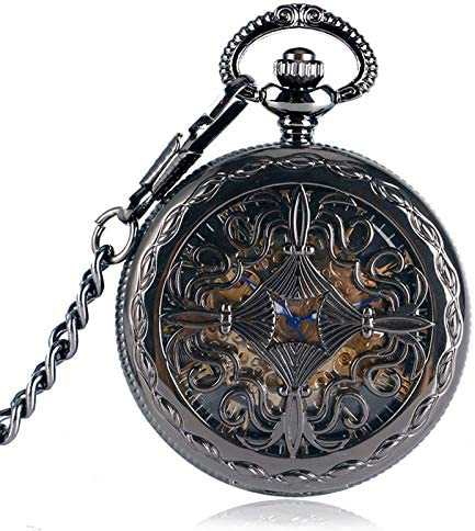 YXZQ懐中時計、トレンディゴシックグリルフラワーケーススチームパンクスケルトン自動機械式ギフトチェーン