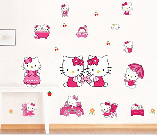 EKEA-Home PVC Hello Kitty Wall Stick Children Kids Nursery Room Kindergarten Home Decorative Mural Wallpaper Decals KT DM57167,50x70cm/19.7