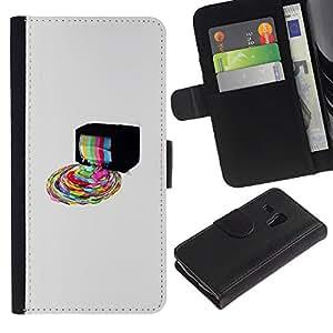 NEECELL GIFT forCITY // Billetera de cuero Caso Cubierta de protección Carcasa / Leather Wallet Case for Samsung Galaxy S3 MINI 8190 // Psychedelic Rainbow TV