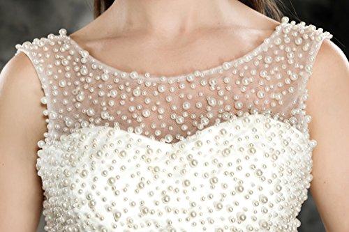 Coloredress Robe De Mariée Courte Avec Des Perles D'ivoire