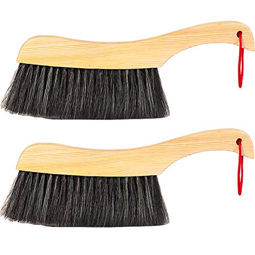 Soft Cleaning Brush -2PCS Wood Handle Hotel Family Clothes Dust Hair Sofa Bed Sheets Bedspread Carpet Cleaning Natural Bristle Brush Wooden Large for Home Office and Car Set of 2