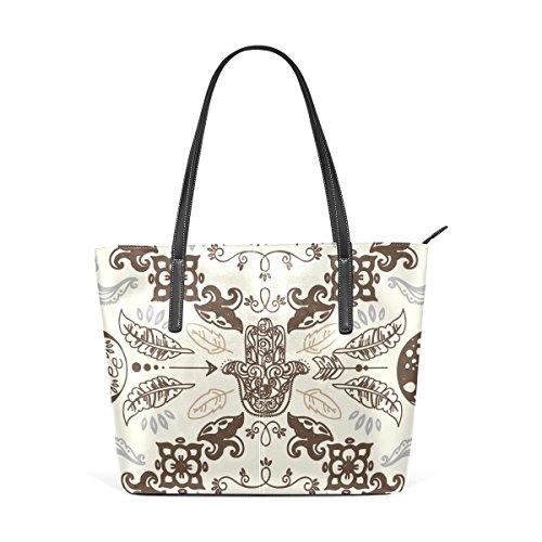 Handle Leather Women's Hamsa And Top TIZORAX Handbag Totes Purses Fashion PU Symbol Bags Moons Shoulder Doodle Pqxw0B