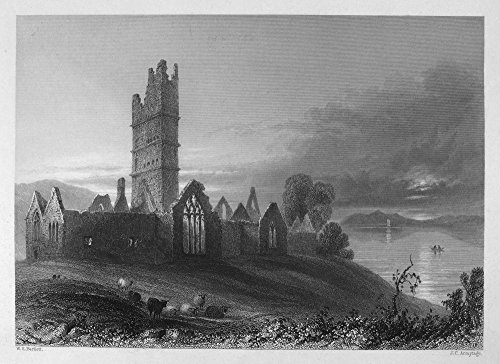 Ireland Moyne Abbey Nview Of The Ruins Of Moyne Abbey On The River Moy County Mayo Ireland Steel Engraving English C1840 After William Henry Bartlett Poster Print by (18 x 24)