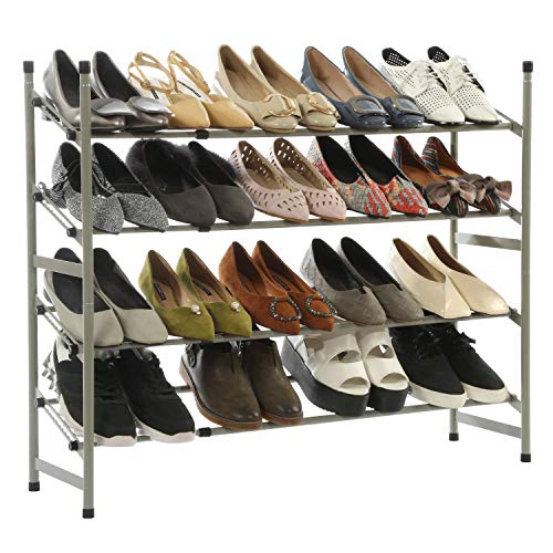 Homebi Expandable 4-Tier Shoe Rack Stackable Metal Shoe Tower Storage Organizer Entryway Shoes Shelf Holds 12-24 Pairs of Shoes with 4 Tiers Durable Shelves,(24.60-46.45)