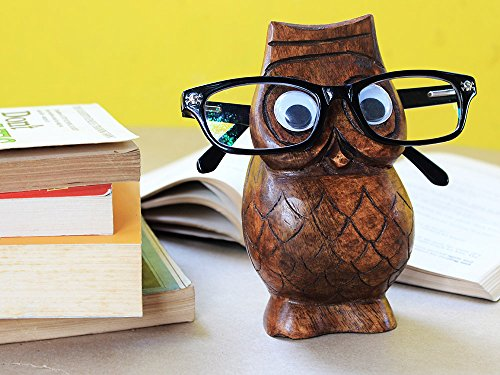 Store Indya Eyeglass Holder Wooden Spectacle Stand Owl Shaped Handmade Display Glasses - Wooden Spectacles