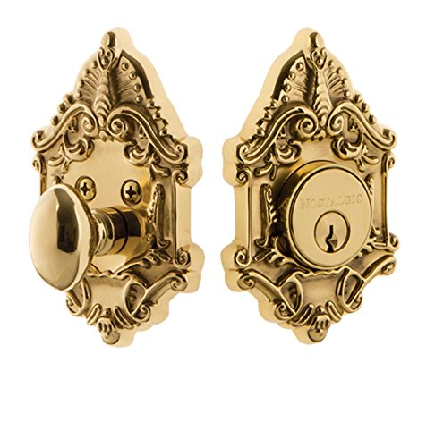 Nostalgic Warehouse 726054 Victorian Plate Single Cylinder Deadbolt Victorian Door Knob in Polished Brass,
