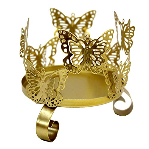 Creaon Butterfly Pattern Iron Candlestick Creative Butterfly Gold Candle Holder for Home Decoration Bedroom Party Wedding