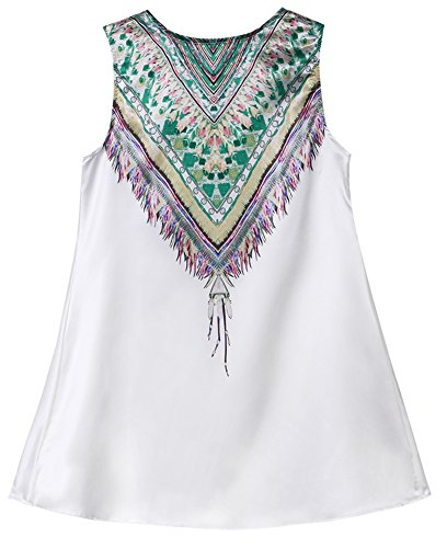 Donna Summer Sleeveless BEIL?ufige Boho Maxi vestito floreale chiffon Top bianco M