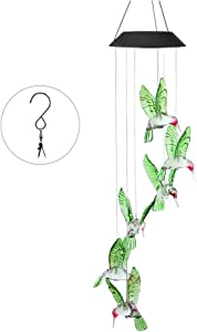 OCACA Wind Chimes, Green Hummingbird LED Solar Powered Color Changing Lights for Indoor/Outdoor Decoration, Mobile Waterproof Wind Bell for Home, Yard, Patio, Party Decor, Romantic Birthday Gifts
