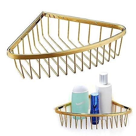 Vivreal® Brass Gold Finish Corner Shower Caddy Storage Shelf Tub And ...