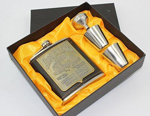 Jim Beam Leather Flask Set