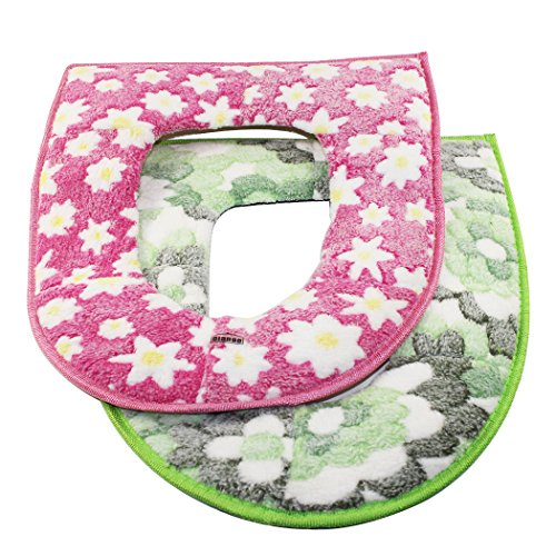 Dianoo Plush Toilet Seat Covers, Bathroom Soft Warm Washable Toilet Seat Cover Cushion, 2PCS (The Colors Will be Sent at Random)