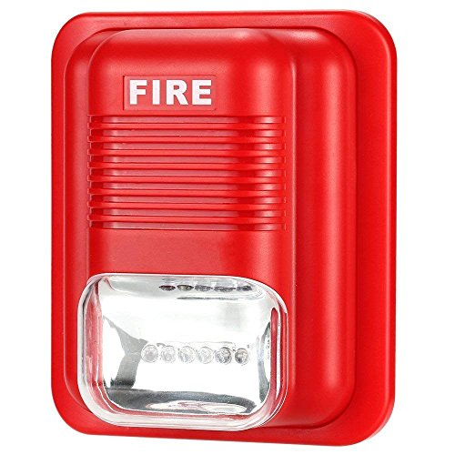 Rianbottle Fire Alarm Siren Strobe,Alarm SIiren Horn Home Security Safe System for House, Office, Hotel etc First Aid Emergency Situation