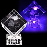 "Kufox Valentines Day Loving Gift Crystal Square 3D Couple Lover Colorful LED Light, ""I love you "" with Gift Box(Also A Great Gift For Birthday, Anniversary Wedding, Mother¡¯s Day, Valentine's Day)"