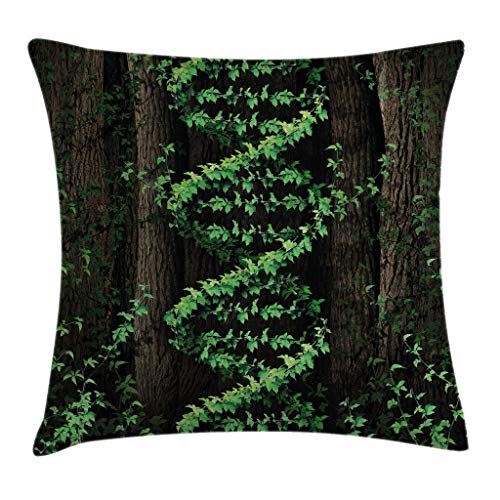 "Ambesonne Nature Throw Pillow Cushion Cover, Mystic Forest Tropic Trees Leaves Ivy Wild Botanic Artwork Print Photo, Decorative Square Accent Pillow Case, 20"" X 20"", Brown Green"