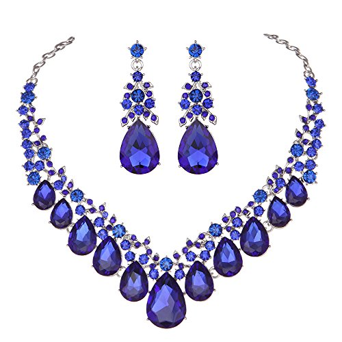 Youfir Bridal Rhinestone Crystal V-Shaped Teardrop Wedding Necklace and Earring Jewelry Sets for Brides Formal Dress(Blue)