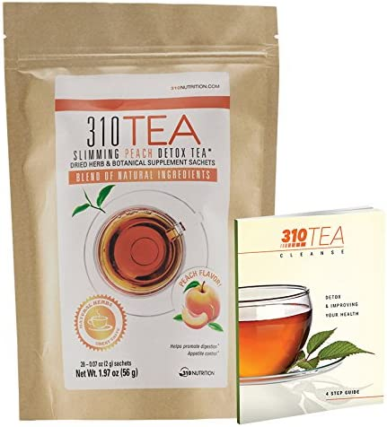 Detox Tea, 28 Servings 310 Tea Peach Fights Bloating and Appetite Suppressant, Increases Metabolism Organic Green Tea with Yerba Mate, Guarana, Ginger, and Many More Cleansing Ingredients
