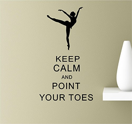 Keep calm and point your toes on Vinyl Wall Art Inspirational Quotes Decal Sticker (Wall Decals Keep Calm compare prices)