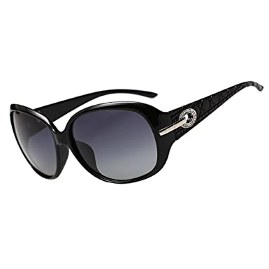 d42876a615 DUCO Women s Shades Classic Oversized Polarised Sunglasses 100% UV  Protection 6214 Black Frame Gray Lens