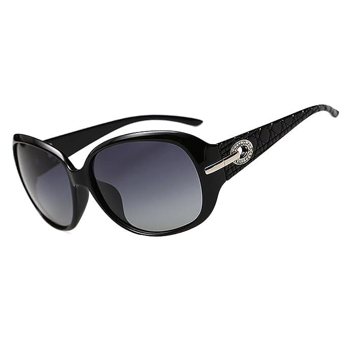 a9da502756b DUCO Women s Shades Classic Oversized Polarised Sunglasses 100% UV  Protection 6214 Black Frame Gray Lens