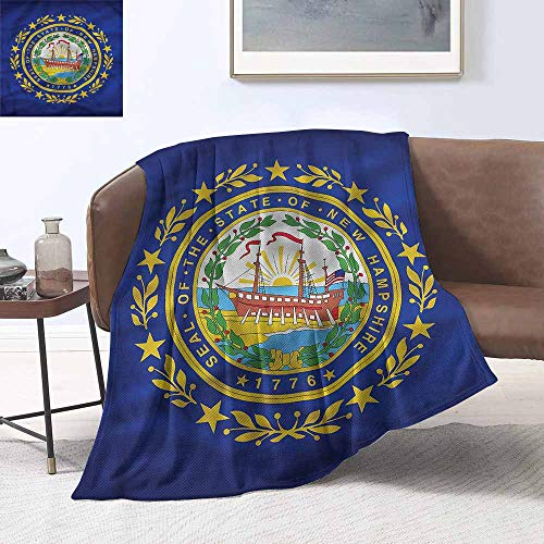 Throw Blanket American State of New Hampshire Blanket for Sofa Couch Bed W60 xL91 Traveling,Hiking,Camping,Full Queen,TV,Cabin
