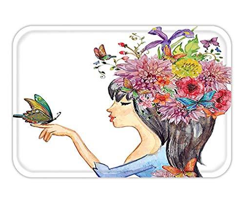 lsrIYzy Doormat Watercolor Flower Decor Collection Floral Head Cute Girl Holding Butterfly Romantic Feminine Spring Symbole Art Print Bedroom Living Room Dorm Multi.jpg