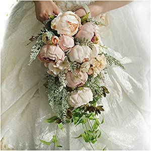 Luvier Rustic Blush Peony Plants Teardrop Cascading Wedding Bouquets Artificial Fake Flowers lace Waterfall Shape toss Bridal Bouquet (Champagne) 68