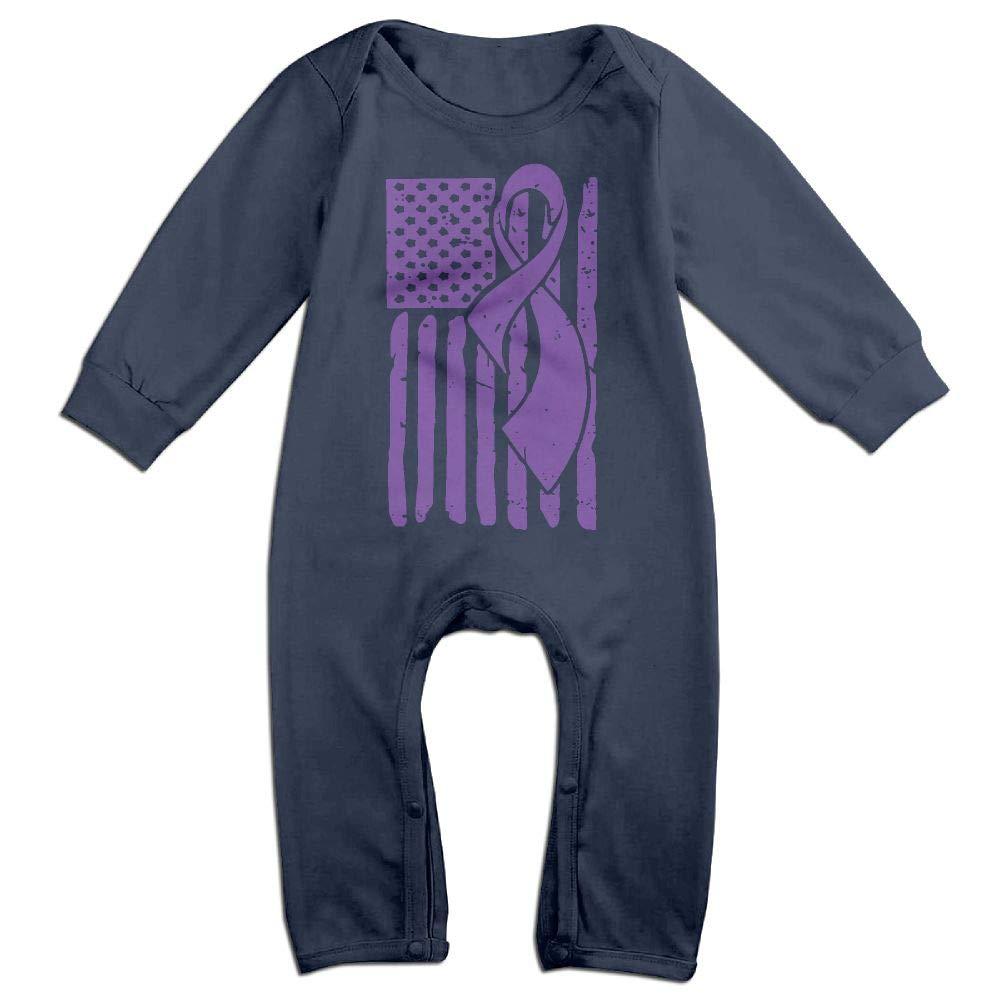 Mri-le1 Baby Girl Long Sleeved Coveralls Leiomyosarcoma Awareness Ribbon American Flag Baby Clothes