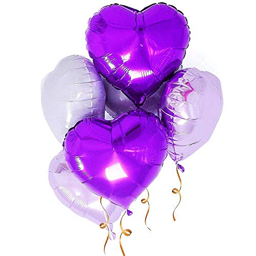 AZOWA 30 Pcs Heart Balloons 18 inch Purple Heart Shaped Foil Mylar Balloons for Valentine's Bridal Shower Wedding Birthday Party Decorations