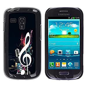 TopCaseStore / la caja del caucho duro de la cubierta de protección de la piel - Cool Music Note Microphone Beat Bass Love - Samsung Galaxy S3 MINI NOT REGULAR! I8190 I8190N