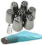 Acacia Place Russian Piping Tips Large Flower Cake/Cupcake Stainless Steel Decorating Icing Nozzles with Reusable Silicone Pastry Bag 8pc Set Plus Bonus Leaf Tip ()