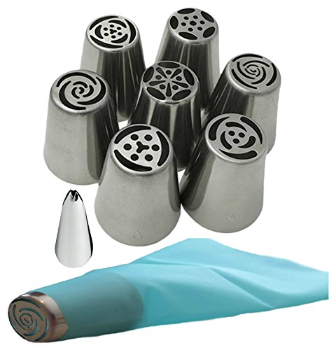 Acacia Place Russian Piping Tips Large Flower Cake/Cupcake Stainless Steel Decorating Icing Nozzles with Reusable Silicone Pastry Bag 8pc Set Plus Bonus Leaf (8pc Stainless Steel Kitchen Tool)