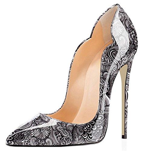 Fleur Grande Stiletto ELASHE Aiguille 12cm Taille Laçage Gris Talon Escarpins Chaussures Femmes 4 HHxw0PC