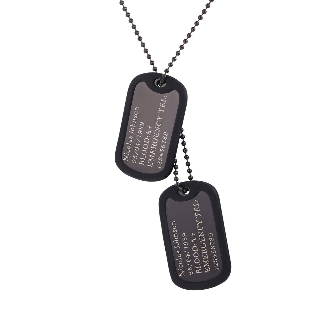 U7 Custom Engraved Dog Tag Pendant with Black Gun Plated Chain 23'' Medical Alert ID Necklace