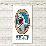 smallbeefly Shark Sports Towel Funny Vintage Feed Me Quote with Hungry Hound Shark Head in Ship Window Humor Print Absorbent Towel Multicolor Size: W 35.5'' x L 31''