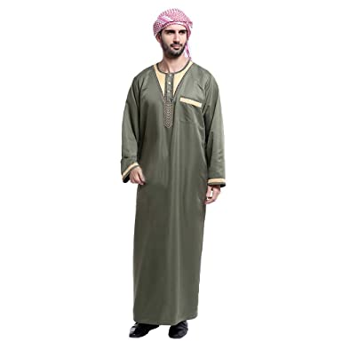 CATSAP Men s Stand Neck Applique Long Sleeve Saudi Arab Thobe Islamic  Muslim Dubai Robe (Army d5cd28d45
