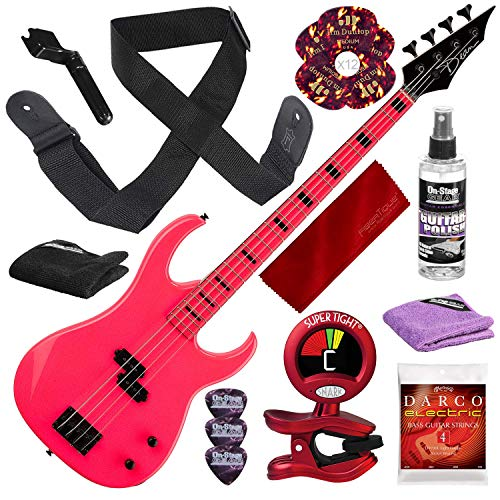 Dean Custom Zone Electric Bass Guitar, Fluorescent Pink with Deluxe Accessory Bundle