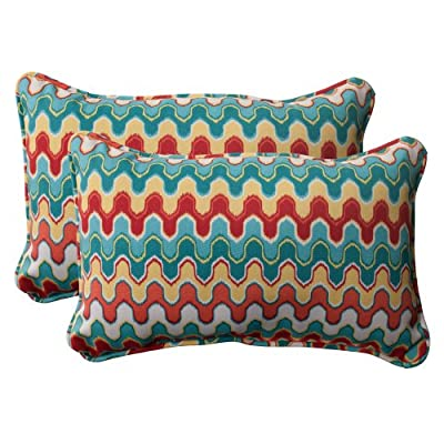 Pillow Perfect Outdoor Nivala Corded Rectangular Throw Pillow, Blue, Set of 2 - Includes two (2) outdoor pillows, resists weather and fading in sunlight; Suitable for indoor and outdoor use Plush Fill - 100-percent polyester fiber filling Edges of outdoor pillows are trimmed with matching fabric and cord to sit perfectly on your outdoor patio furniture - patio, outdoor-throw-pillows, outdoor-decor - 51tTCh89S2L. SS400  -