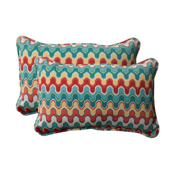 Pillow Perfect Outdoor Nivala Corded Rectangular Throw Pillow, Blue, Set of 2 - Includes two (2) outdoor pillows, resists weather and fading in sunlight; Suitable for indoor and outdoor use Plush Fill - 100-percent polyester fiber filling Edges of outdoor pillows are trimmed with matching fabric and cord to sit perfectly on your outdoor patio furniture - patio, outdoor-throw-pillows, outdoor-decor - 51tTCh89S2L. SS570  -