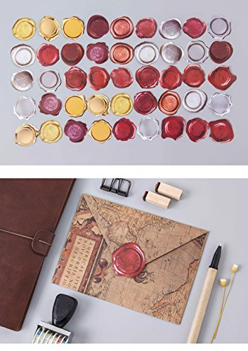Colorful Self-adhesive Stickers Labels Boxed Stickers Pocket Album Decoration Seal Stickers DIY Paper Stickers Decorative Labels for Wedding Party Gift Packaging Bake Decoration (Multi-Wax)