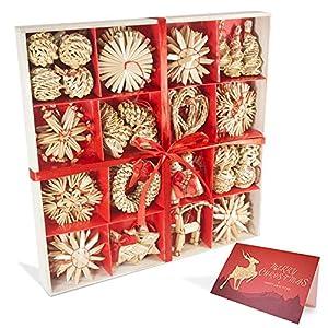 56 pezzi di paglia di decorazione dell'albero di Natale, ciondolo di ornamenti creativi da appendere alle forniture di artigianato natalizio Ornamenti decorativi da appendere 3 spesavip