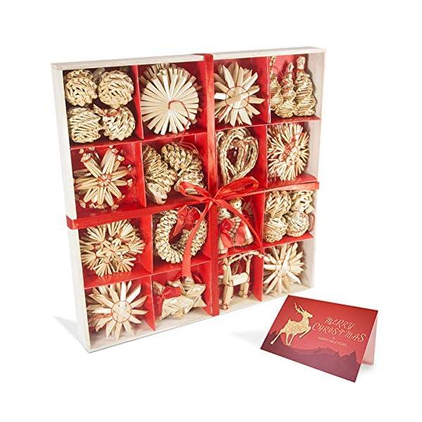 56 pezzi di paglia di decorazione dell'albero di Natale, ciondolo di ornamenti creativi da appendere alle forniture di artigianato natalizio Ornamenti decorativi da appendere 1 spesavip