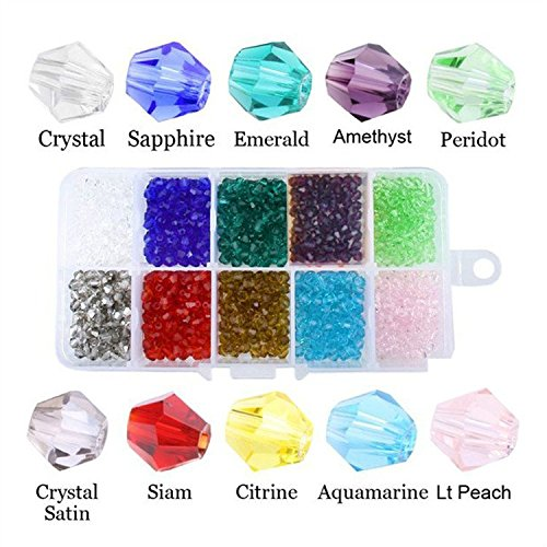 (HYBEADS Wholesale Mix Lot 1000 pcs Bicone 4mm #5328 Xillion Bicone Crystalized Crystal Glass Beads For Jewelry Making Findings with Container Box)