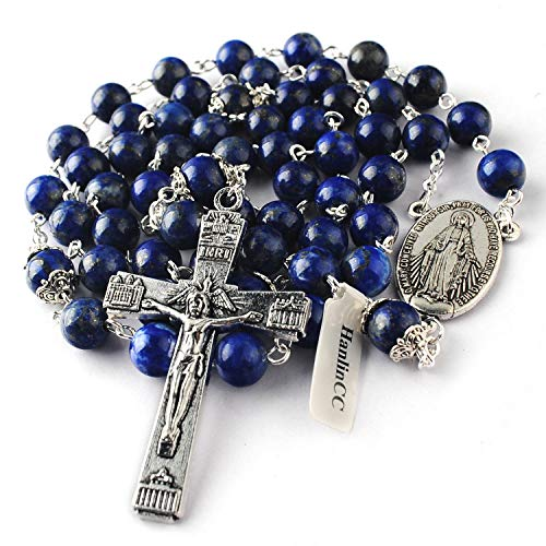HanlinCC 8mm Lapis Lazuli Natural Beads Rosary and Glory Beads with Caps with Our Lady of Maria Center Piece and Anti-Silver Plated Crucifix with Gift - Gift Silver Box Bead