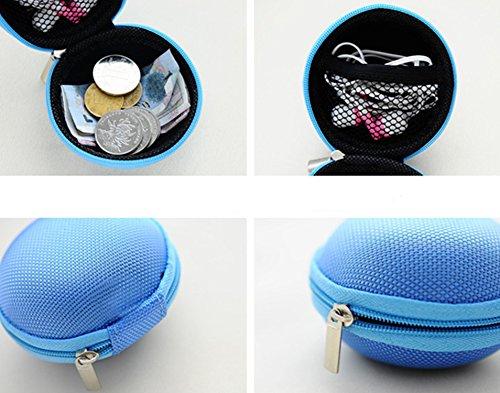 Leisial Forma de Ronda Caja Estuche de Auriculares Bolsa de Almacenamiento Auriculares con Cremallera Funda para Teléfono Auriculares USB Cable Negro Rosa