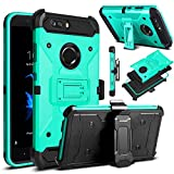 zte zmax swivel clip - ZTE Blade Z Max Case, ZTE ZMax Pro 2 Case, ZTE Sequoia Case, Venoro Heavy Duty Armor Shockproof Rugged Protection Case Cover with Belt Swivel Clip and Kickstand for ZTE Z982 (Blue Green)