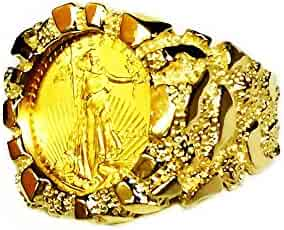 14K Gold Men'S 21 Mm Nugget Coin Ring With A 22 K 1/10 Oz American Eagle Coin - Random Year Coin