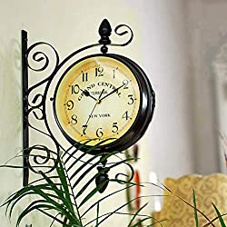 VORCOOL Double Sided Wall Clock Iron Silent Quiet Grand Central Station Wall Clock