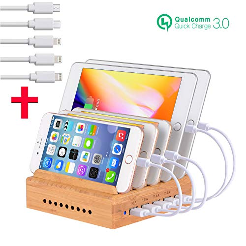 Fastest Charging Station for Multiple Devices, Othoking USB 5-Port Charging Station Dock & Charging Stand Organizer with QC 3.0 for Smartphones, Tablets & Other Gadgets