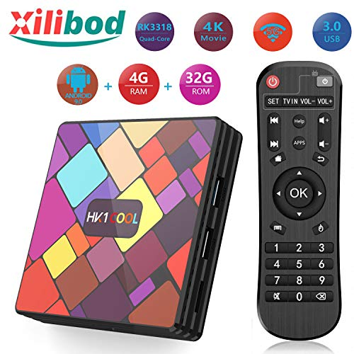 Xilibod Android 9.0 TV Box 4GB RAM/32GB ROM, RK3318 Quad-Core 64bit Cortex-A53, Penta-Core Mali-450,H.265 Decoding 2.4G…